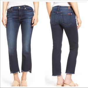 7 FOR ALL MANKIND STEP HEM FRAYED CROP JEANS S 32